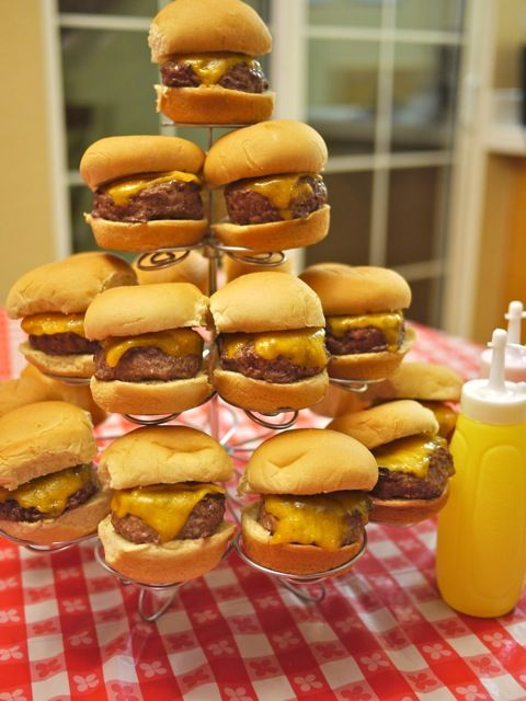 Tower of Sliders: Cupcake Tree, Sweet 16, 16 Menu, Menu Ideas, House Party, Cheeseburger Sliders, Party Ideas, Party Food