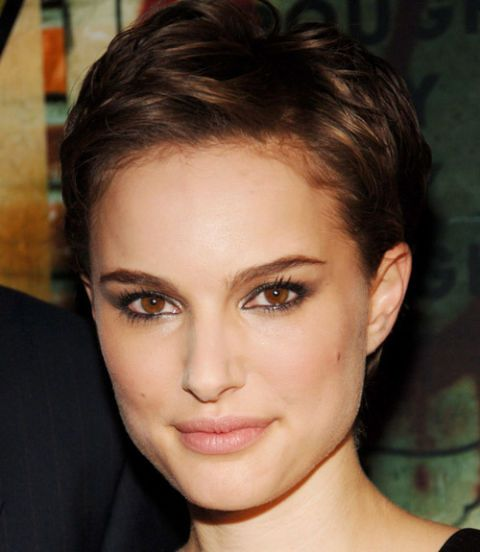 For Natalie Portman's pixie cut, first rough-dry your short locks away from the face, lifting away from the scalp with fingers. Then, use a pliable wax with sheen to define texture, says Boland.