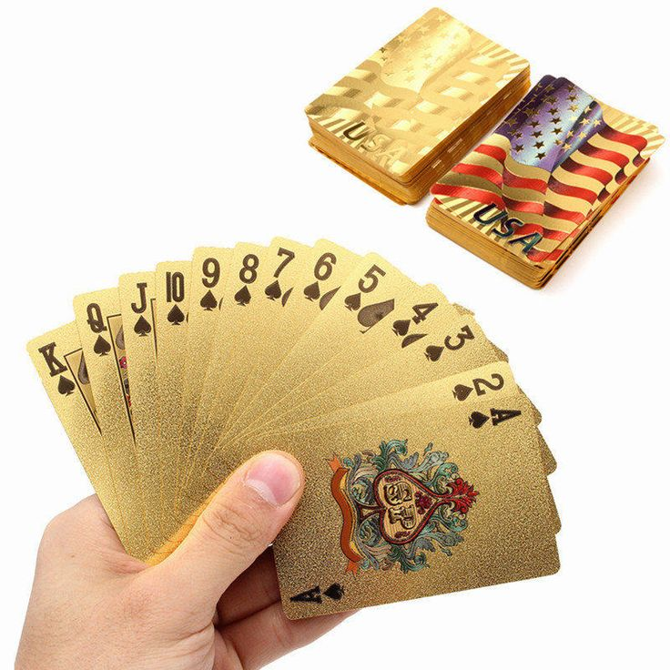 Board Games Golden Playing Cards Deck Gold Foil Poker Set Magic card 24K Gold Plastic Foil poker USA Durable Waterproof Cards  #Affiliate