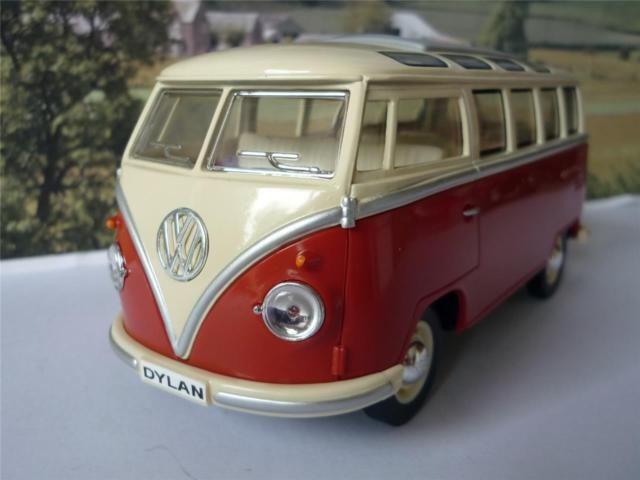 PERSONALISED PLATE Gift Orange and Cream VW Camper Van Bus 17cm 1/24 Toy Model