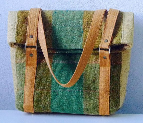 15.060.0011 OOAK, handmade shoulder bag, made with green multicoloured handwoven wool and upholstery fabric