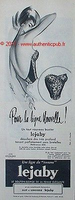 PUBLICITE SEXY BUSTIER LEJABY SIGNE BLONDE LINGERIE DE 1958 FRENCH AD PIN UP