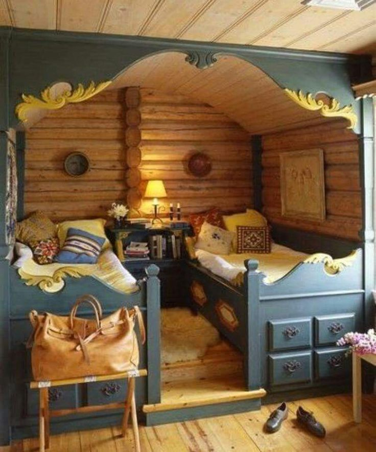 Tiny house, bed nook.  The decorative framing
