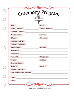 Use this printable ceremony program as a template to list the celebrants of a wedding. Free to download and print