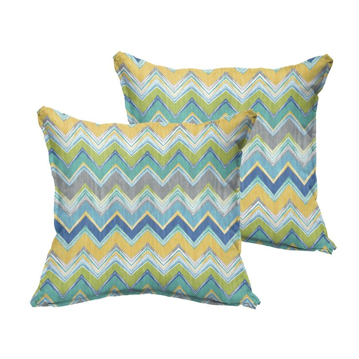 Selena Blue Chevron Indoor/ Outdoor Flange Square Pillows