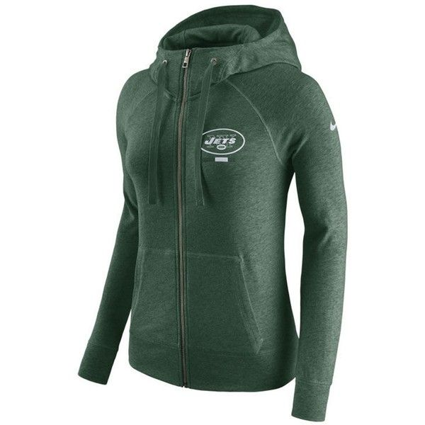 Nike Women's New York Jets Gym Vintage Full-Zip Hoodie featuring polyvore, women's fashion, clothing, tops, hoodies, green, logo hoodies, green hoodies, green hoodie, logo hoodie and green top
