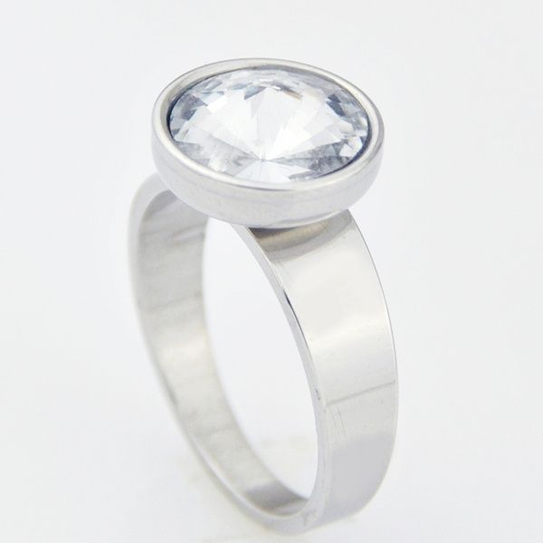 Solitaire Ring made of Solid Stainless Steel  - Size 8.5