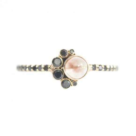 mociun sunstone and black diamond crescent ring