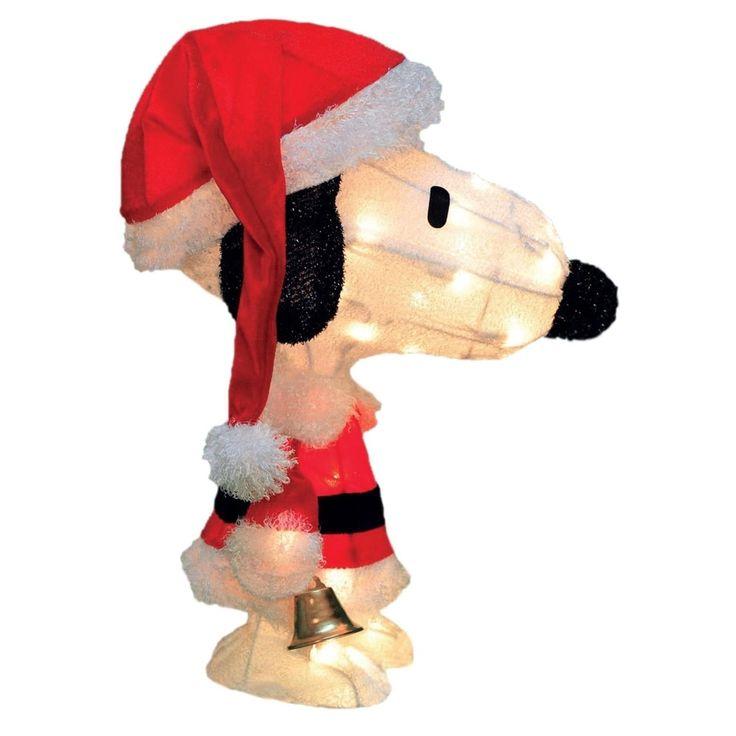 "18"" Pre-Lit Peanuts Soft Tinsel Santa Claus Snoopy Christmas Yard Art Decoration - Clear Lights"