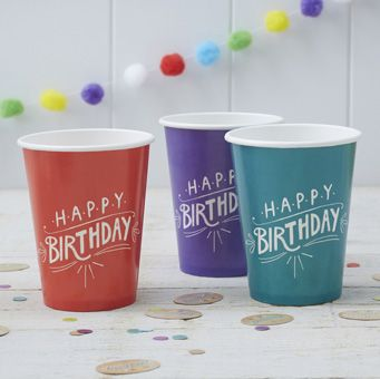 These striking and bold Happy Birthday Kraft paper cups are perfect for your next party table!