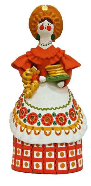 Dymkovo toy is a painted clay toy from the Russian village of Dymkovo. A lady with cakes. #folk #art #Russian #toys