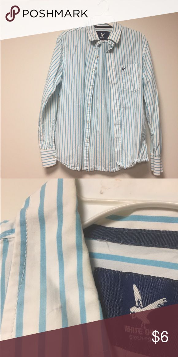 Light blue/white striped white owl shirt M used Light blue/white striped white owl shirt M used - light pen mark stained on left collar Shirts Casual Button Down Shirts