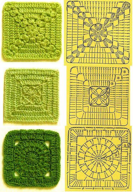 MES FAVORIS TRICOT-CROCHET: Tutos : 50 grilles de carrés au crochet