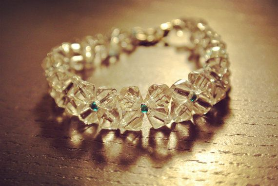 swarovski crystal beaded bracelet, vintage look beadwork bracelet, bridal bracelet bridal accessories,