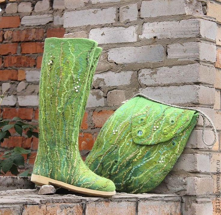 """Купить Валенки и сумка """"Шепот трав"""" - ярко-зелёный, трава, эльф, лес, лесная тема"""