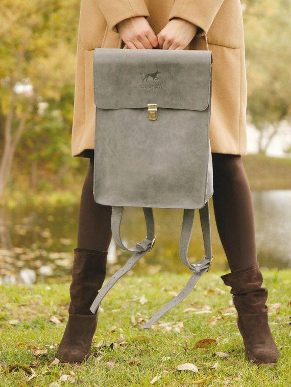 Grau Echtleder-Rucksack, Leder Rucksack, grau Leder rucksack
