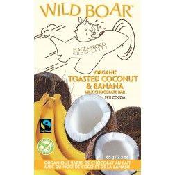 Wild Boar Toasted Coconut and Banana milk chocolate. fair trade. organic. single origin. sustainable. oh so yummy!