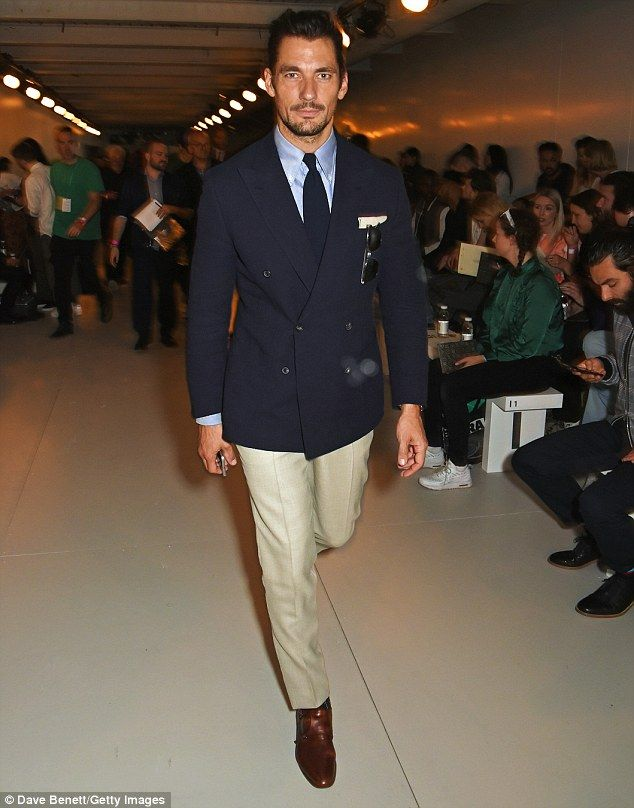 Handsome! An extremely dapper David Gandy also made an appearance and looked typically stylish in a double breasted navy blazer