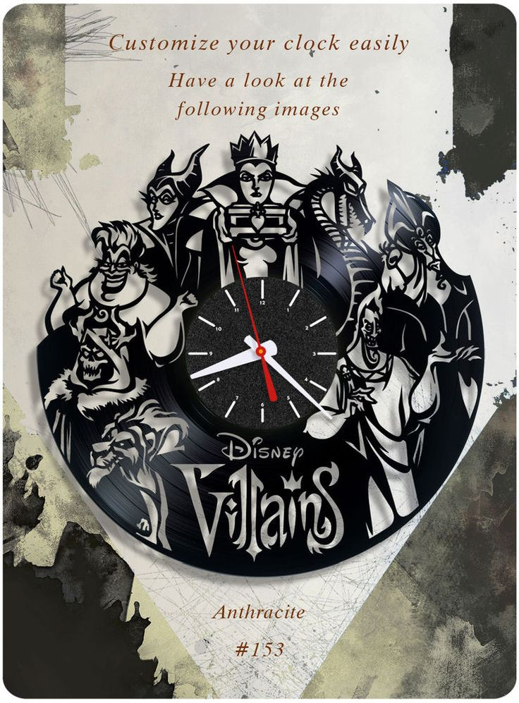 Disney Villains vinyl record clock, wall clock. vinyl clock, kids clock gift 153 #newlifeofvinyl