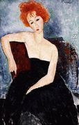 Young Redhead in an Evening Dress  by Amedeo Modigliani