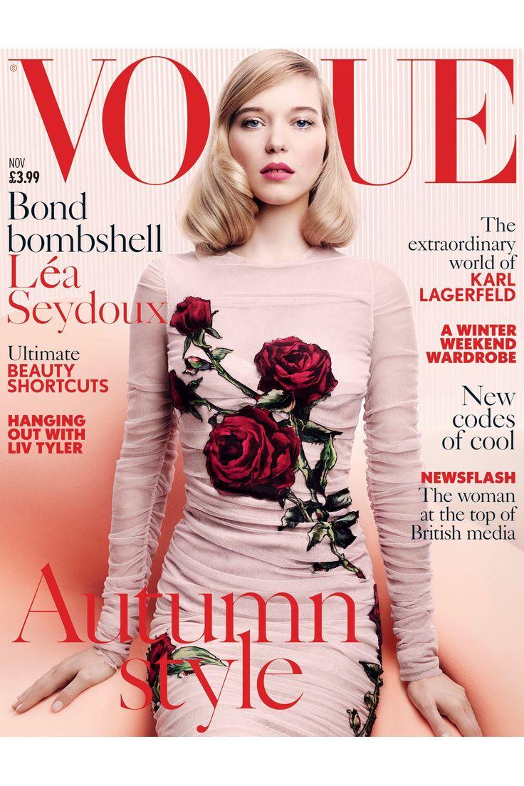 *Love* this feminine cover on Vogue UK's November, 2015 issue @voguemagazine | Lea Seydoux British Vogue Cover Bond Girl November Issue