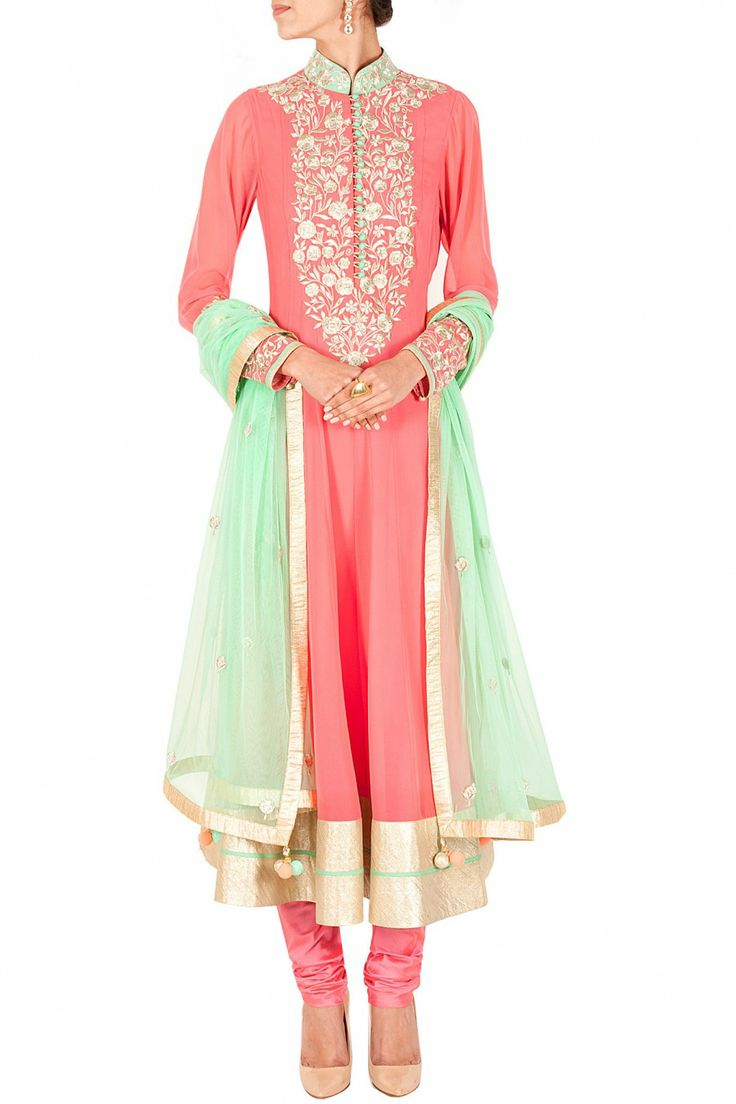 Peach zari embroidered anarkali set BY SVA. Shop now at perniaspopupshop.com