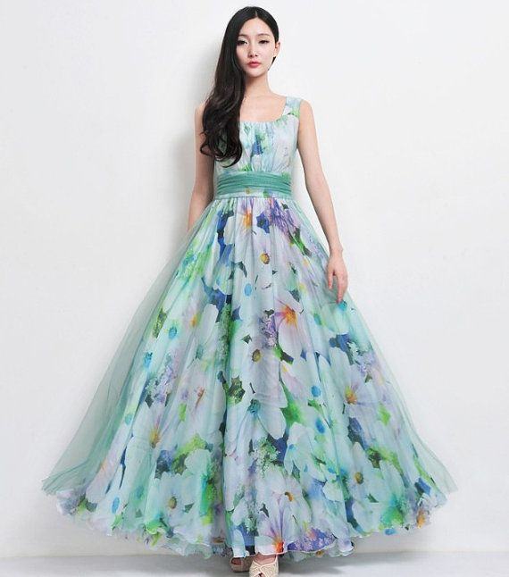 SALE Bohemian Green Blue Floral Print Tulle Chiffon Beach Wedding Bridesmaid A-line Dress Full Pleated Skirt Holiday Prom Party Ball Gown