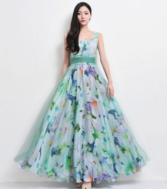 Beach Wedding Gowns Pinterest: SALE Bohemian Green Blue Floral Print Tulle Chiffon By