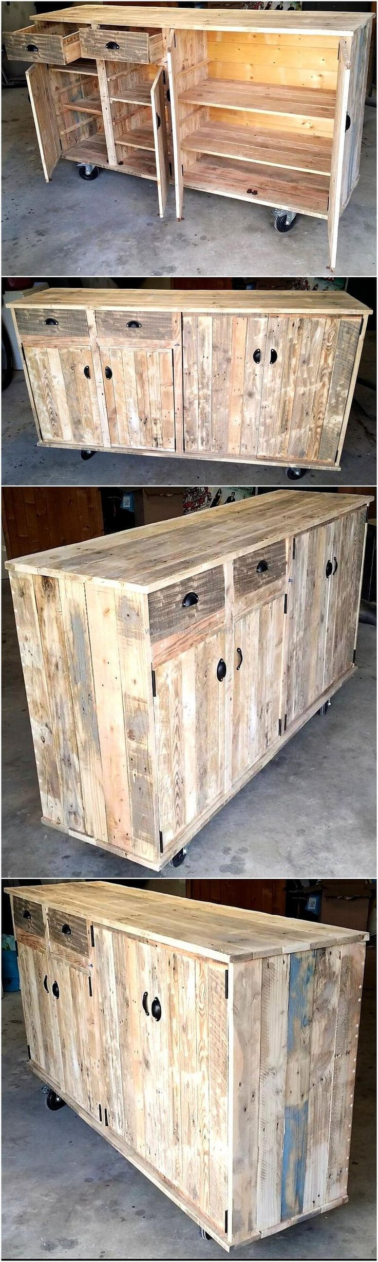 pallets wood made tv stand on wheels