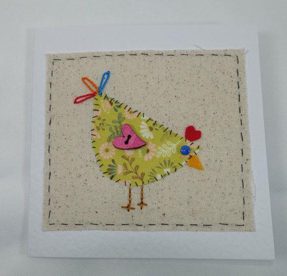 Handmade fabric card chicken card blank card novelty
