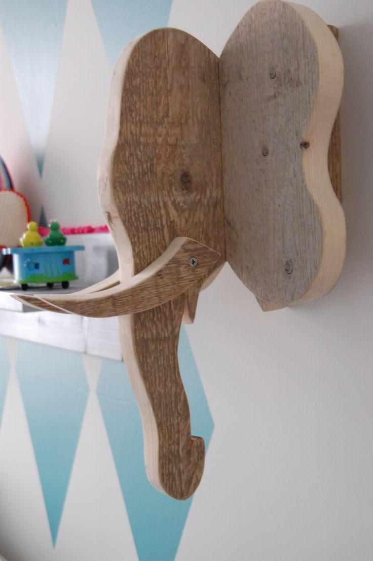 D.I.Y. steigerhouten olifantenkop. Super leuk voor de kinderkamer!