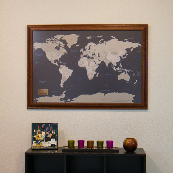 Personalized Earth Toned World Push Pin Travel Map with Pins and Frame 24x36 $119.99 by PushPinTravelMaps on Etsy.com