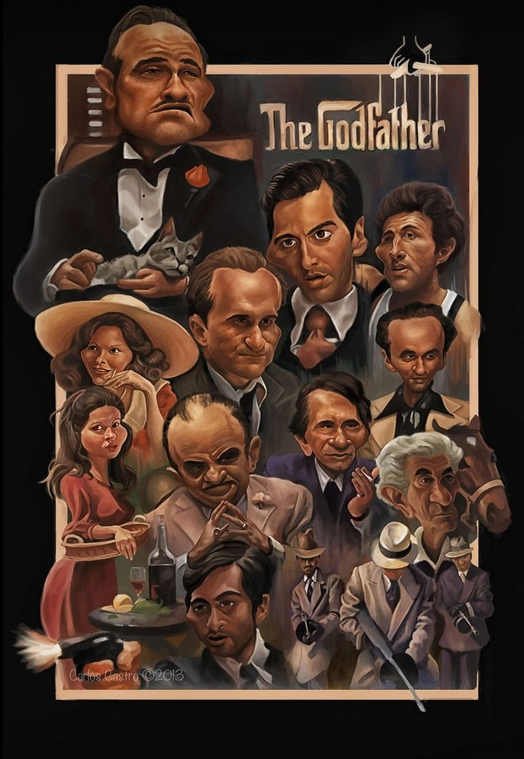 The Godfather - Awesome caricature of the principle players in The Godfather by Carlos Castro #GangsterMovie #GangsterFlick