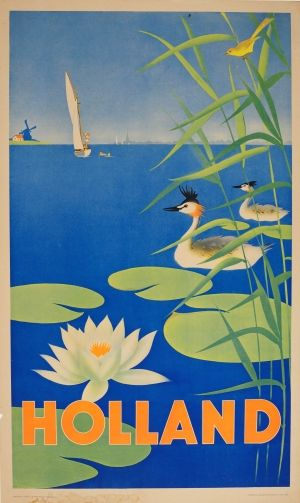 Holland Sailing Windmill, 1950s - original vintage poster listed on AntikBar.co.uk