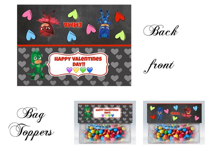 PJ MAsks Valentine Bag toppers, Gift tags