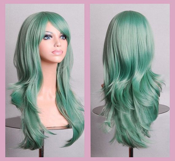 $65 This item is made to order.    Long wavy wig  Color: green  Style: Long with bang  Material: high heat resistant synthetic hair    This wig will come