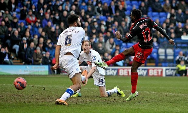 Nathan Dyer scores the first goal in the 6-2 win over Tranmere Rovers in the 3rd round f the FA Cup.