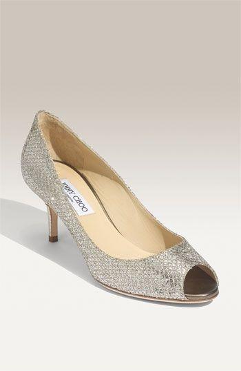 "Perfect wedding shoes: Jimmy Choo 2"" heels, so comfortable.  Isabel pump with peep toe.  Oooh lala"