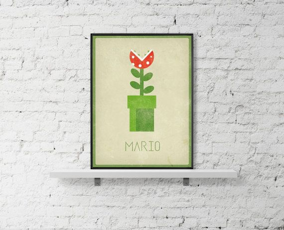 MARIO Minimal Poster Flower Inspired Art Poster by BaydleCreative