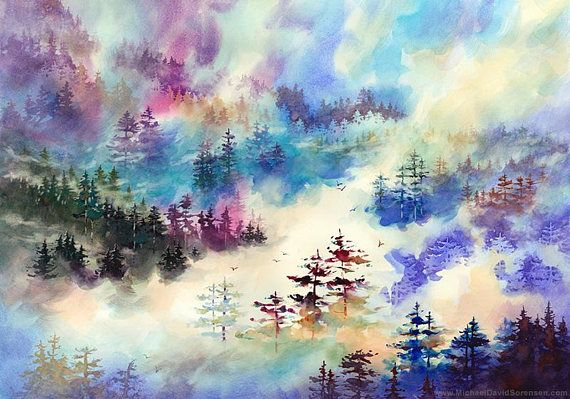 """Up in the Clouds"" -  Watercolor Painting by Michael David Sorensen  https://www.etsy.com/shop/MichaelDavidSorensen"