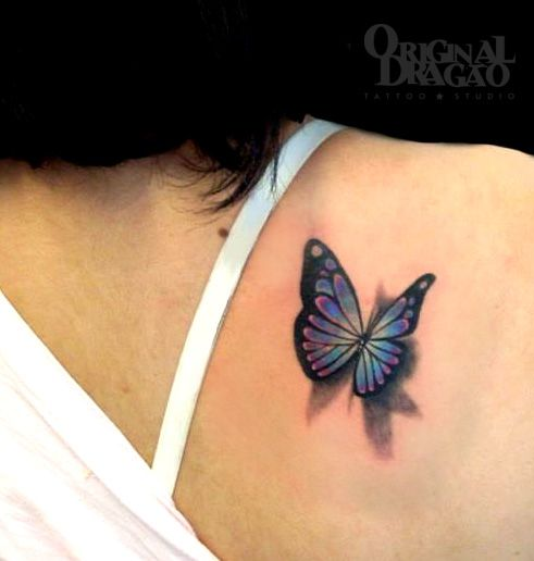Butterfly Tattoo 3D. I want a tattoo on the back of my right shoulder  <3