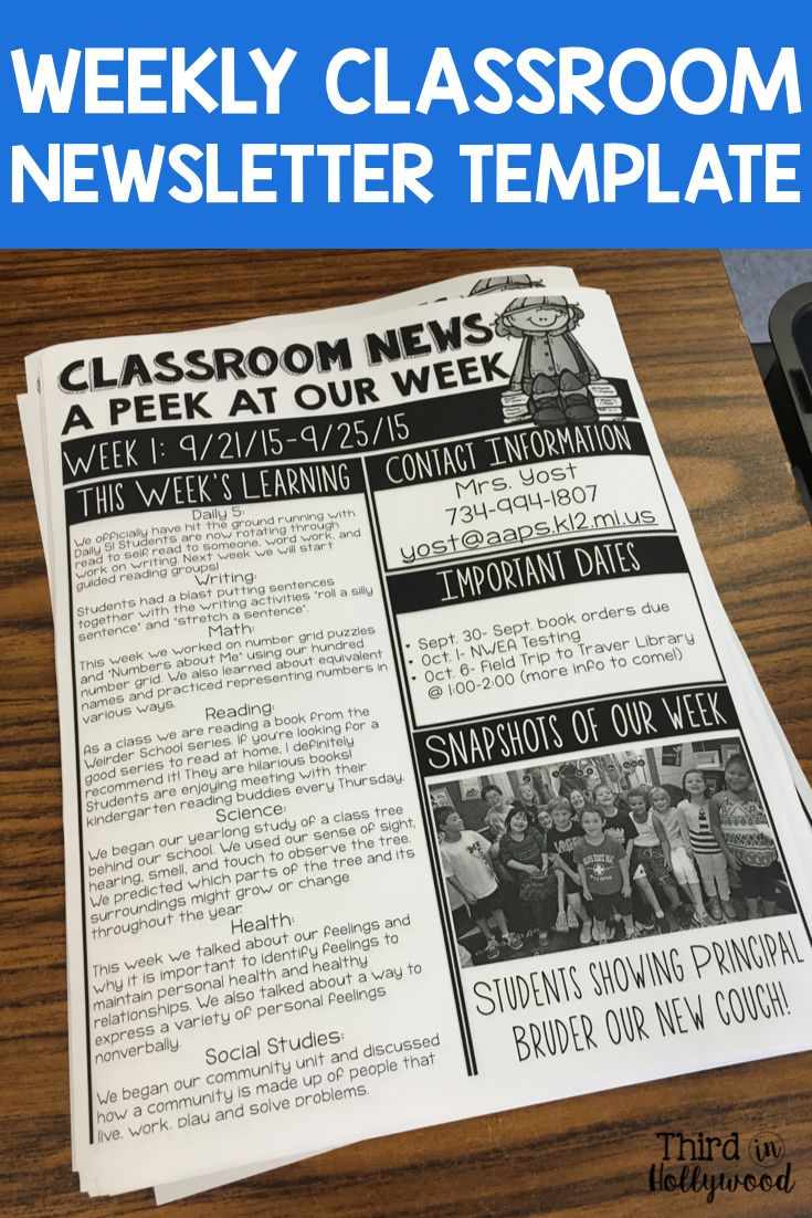 Classroom Newsletter Ideas ~ Weekly newsletter ideas
