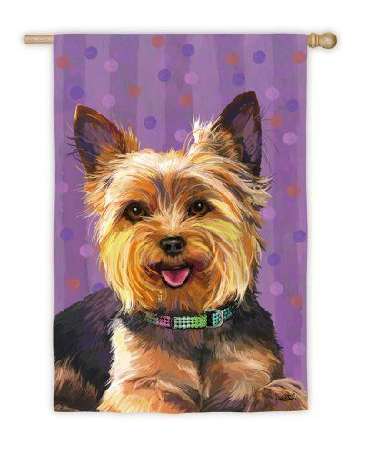 """Yorkie House Flag by House-Impressions. $19.95. 29"""" x 43"""". Hand-crafted. Made of high quality fabric materials. Fade-resistant colors. Flags are the greeting card of your home! Add a piece of colorful and welcoming décor to your outdoor setting with one of these flags. Made of durable materials, the vibrant colors in this flag will last for years to come."""