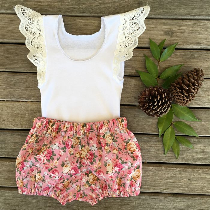 Ruffle Wing Singlet and Pink Bloomer Shorties - baby, girl, Summer