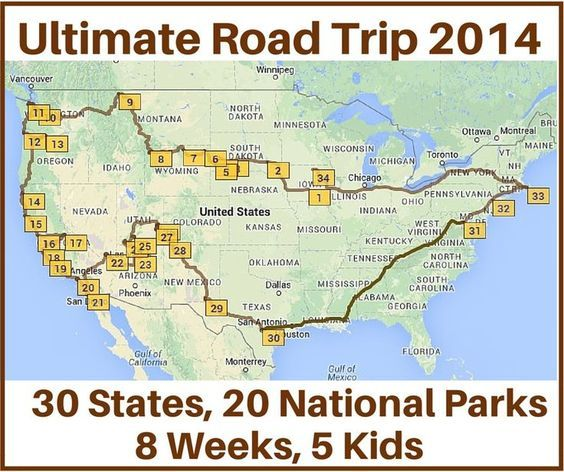 Last time we met Terri and her family of seven who took the Ultimate Road trip with 30 states and 20 national parks in an eight week period. Here we'll share amap and stops they took during their trip.  I used http://MyScenicDrives.com to plot the map. The site statesthat