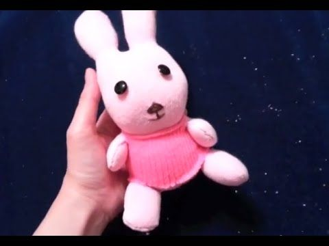 Step-by-step tutorial of making stuffed toy bunny out of socks. Basic sewing…