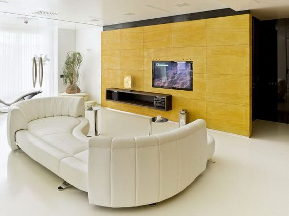 Apartment: Simple Apartment Decoration With White Modern Soda Bed And Modern Stainless Table And Tv Wall Unit With Television Also Flower Pot And Glass Door: Pure Simple Apartment Decorating Ideas