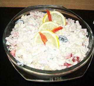 o salata grozava preluata de la LILI MUSAT Asa e LILI,chiar delicios. multam pt reteta. am respectat ingredientele tale doar c-am pus masline negre si-am adaugat si 100grame branza in ceara Paste....