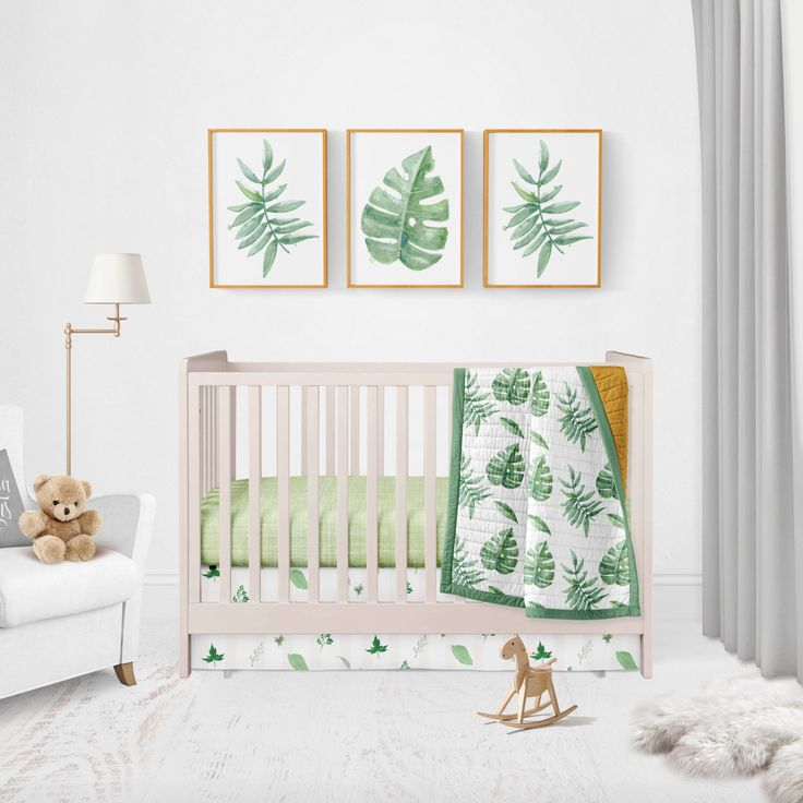 Palm leaf - large green leaves - baby bedding - gender neutral baby bedding - tropical bedding - trendy nursery - boho - fern - greens by HudsonBabyCompany on Etsy https://www.etsy.com/listing/486416388/palm-leaf-large-green-leaves-baby