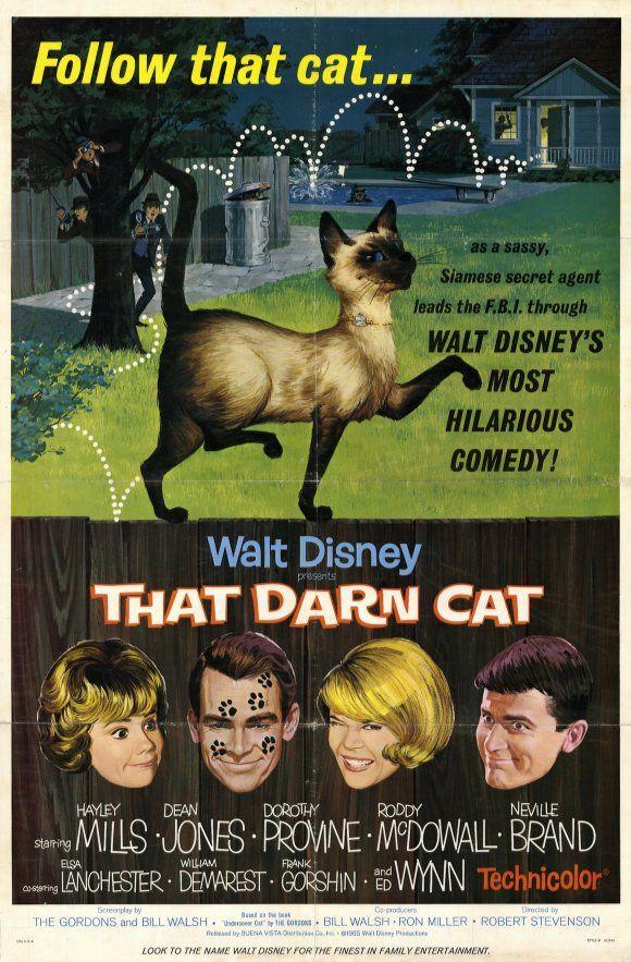 """That Darn Cat!"" (1965). Dir. Robert Stevenson. Stars: Hayley Mills, Dean Jones, Dorothy Provine. *Have VHS"